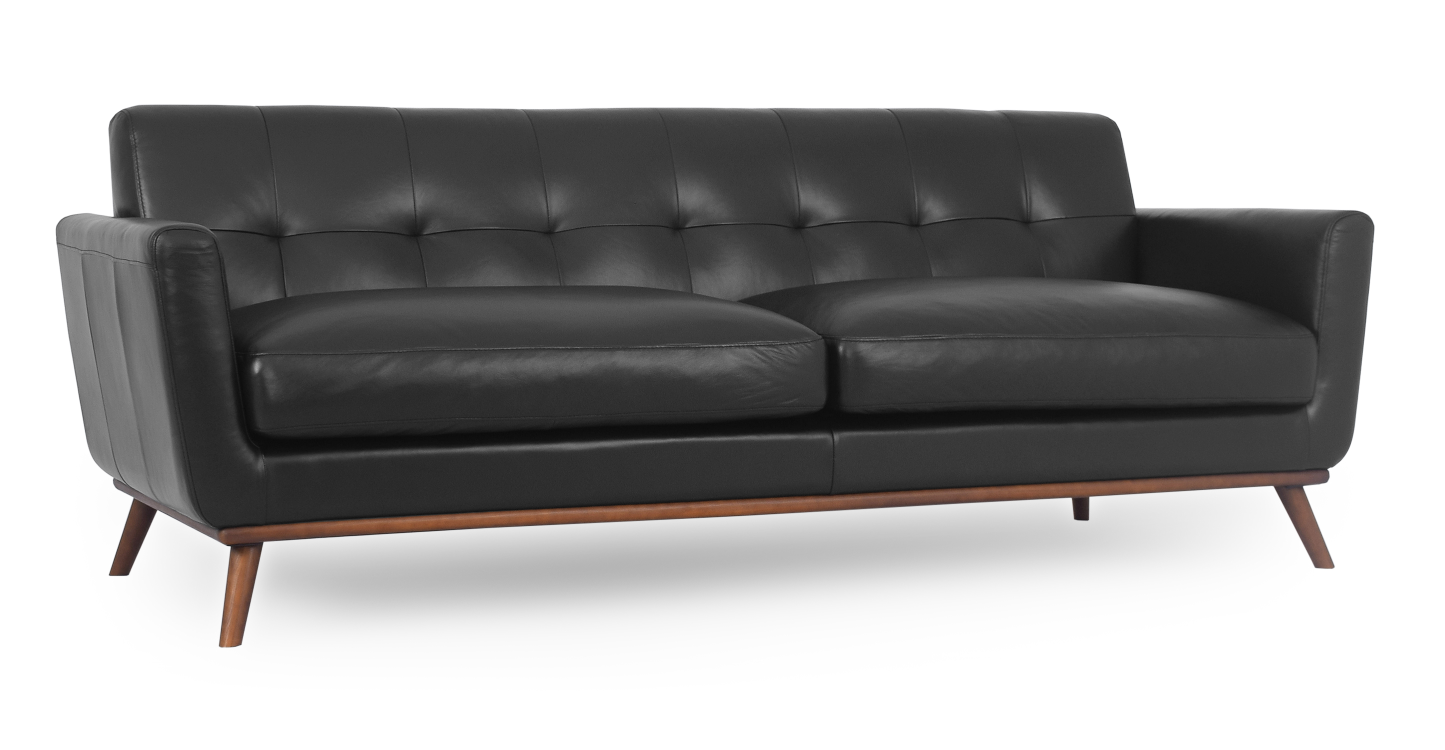 """Jackie 88"""" Leather Sofa, Black"""