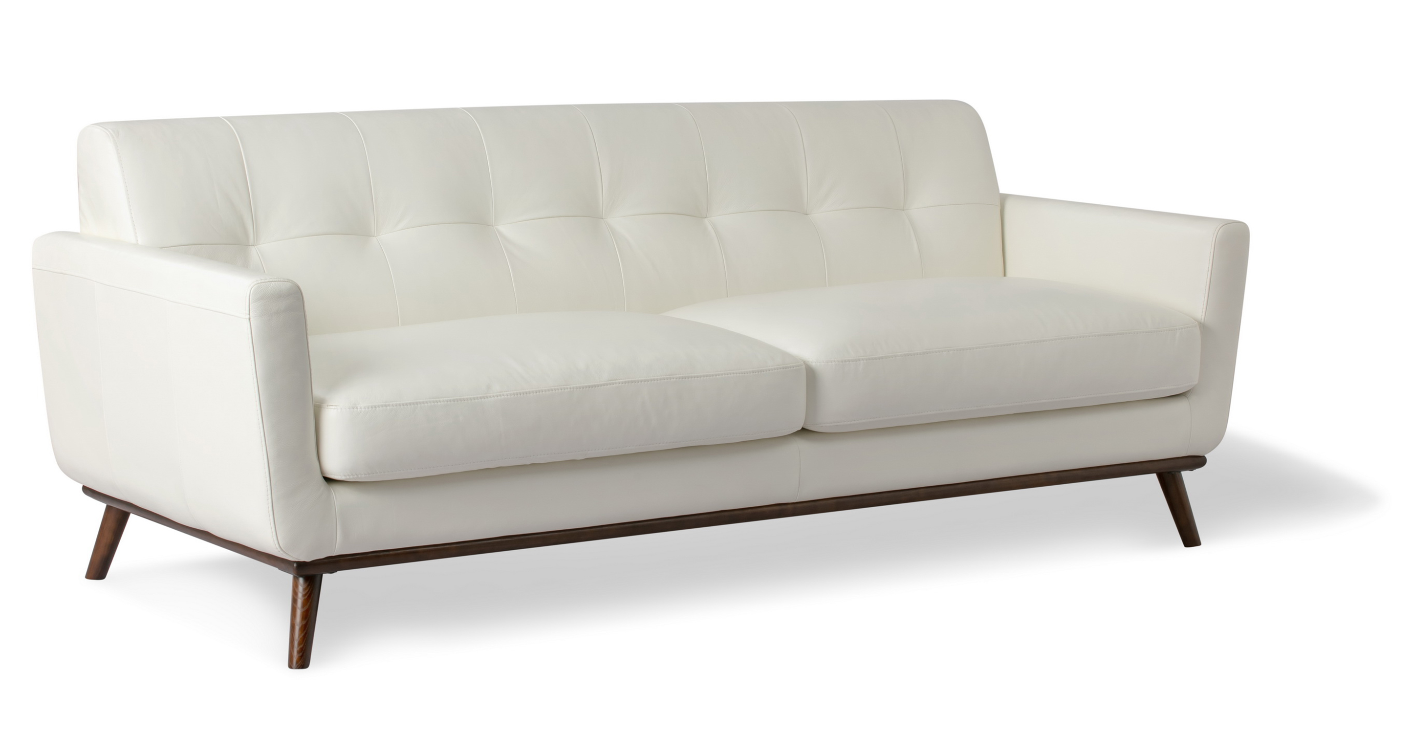 "Jackie 88"" Leather Sofa, White"