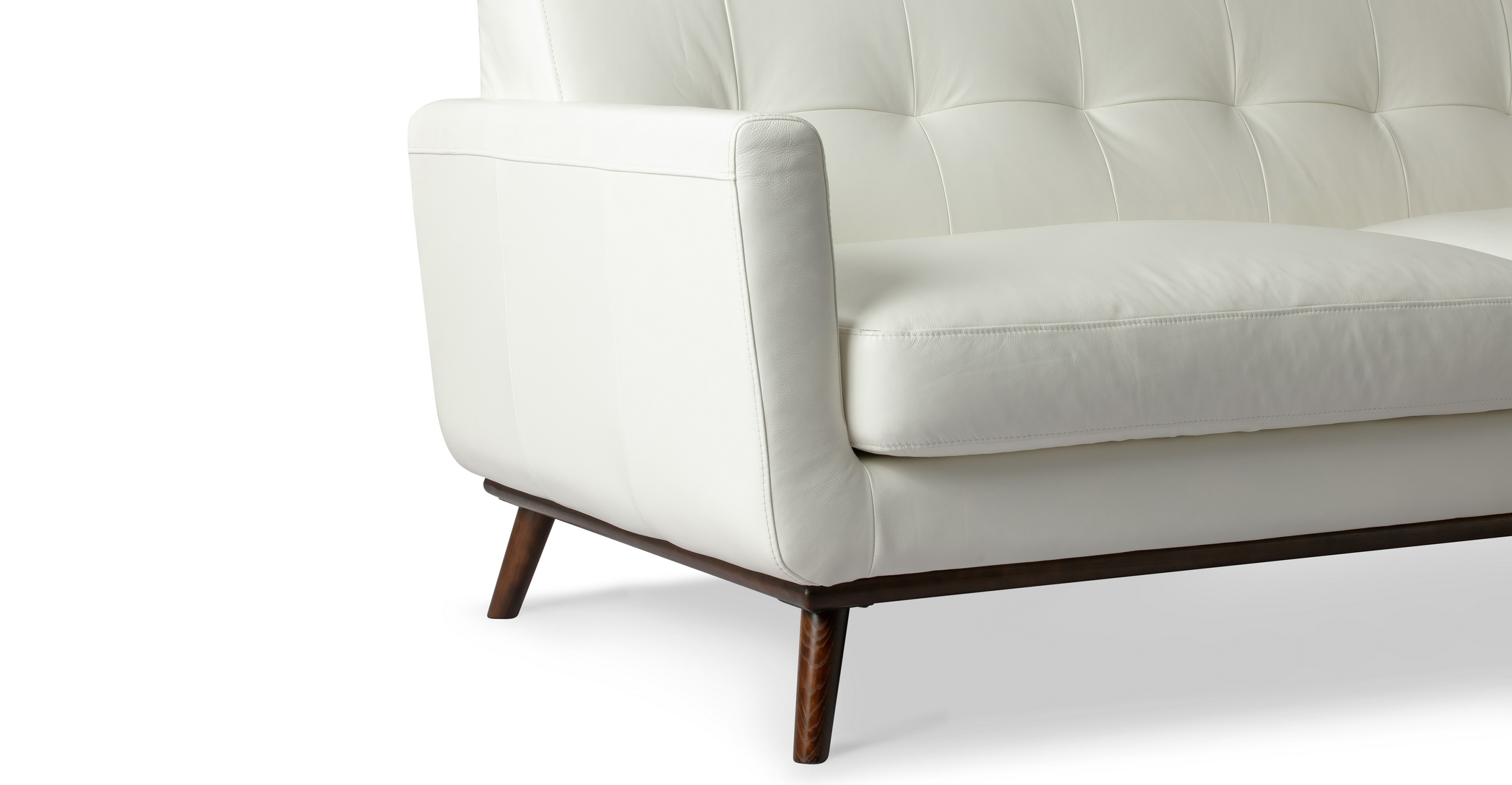 "Jackie 88"" Leather Sofa, White"