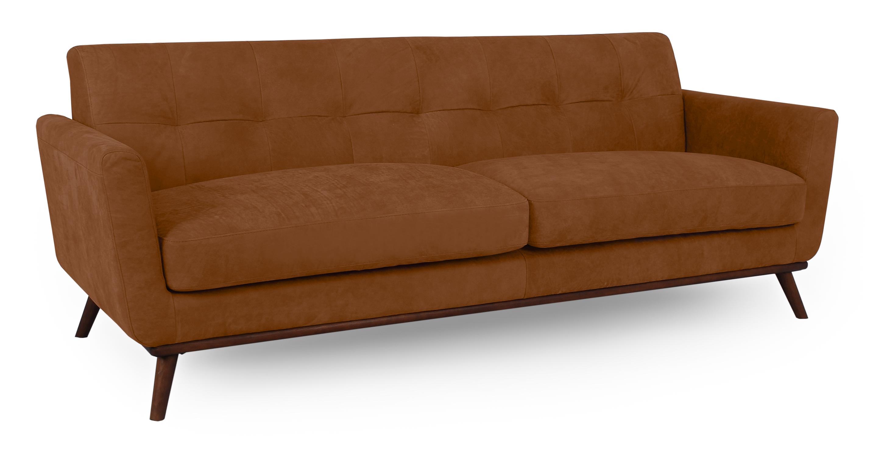 "Jackie 88"" Leather Sofa, Pecan"