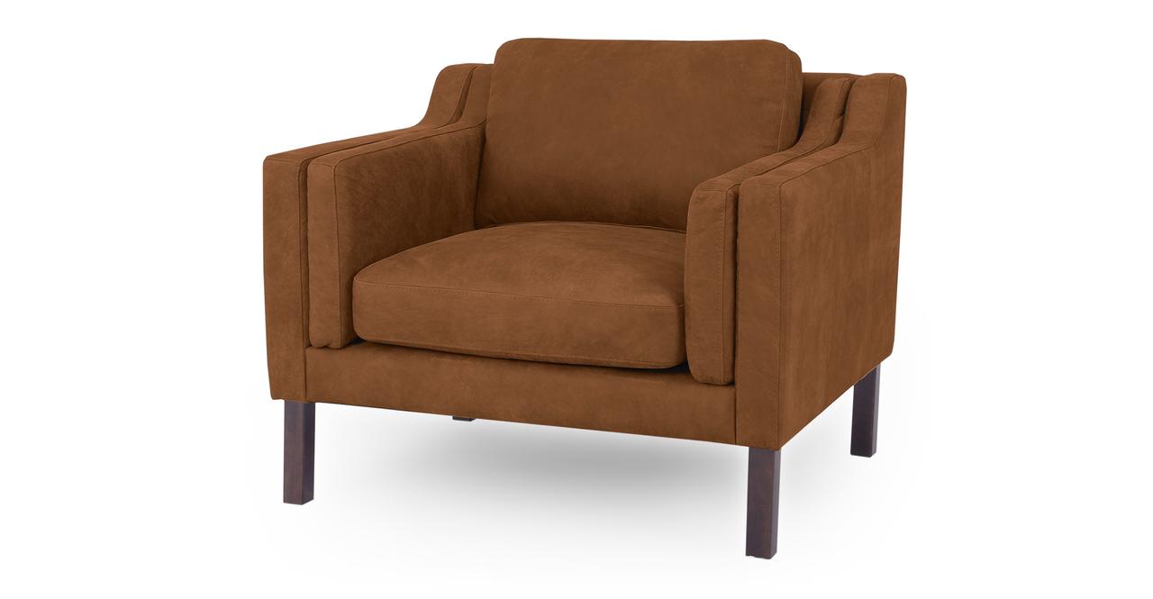"Monroe 39"" Leather Chair, Pecan Full Grain Aniline"