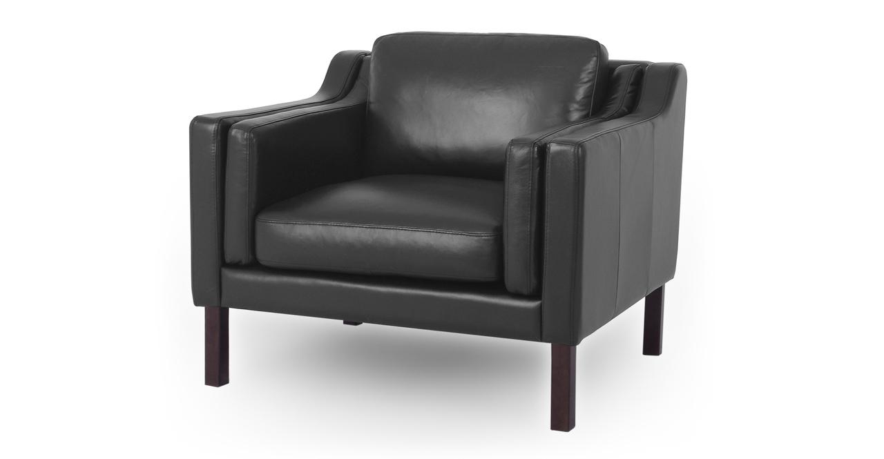 "Monroe 39"" Leather Chair, Black Top Grain Aniline"