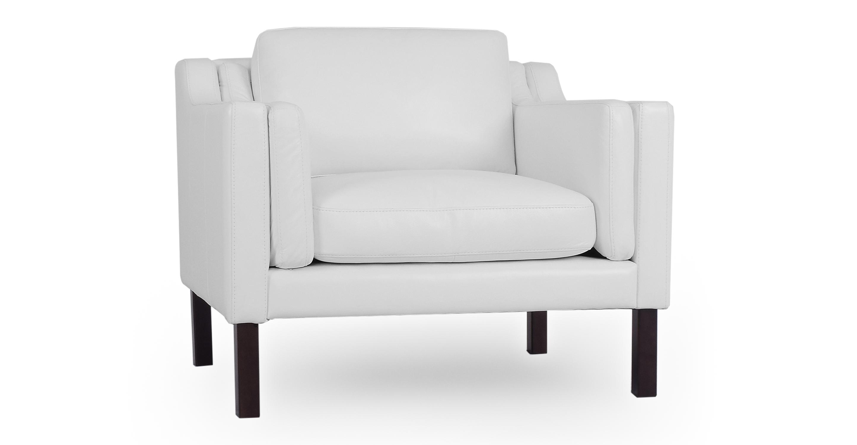 "Monroe 39"" Leather Chair, White"