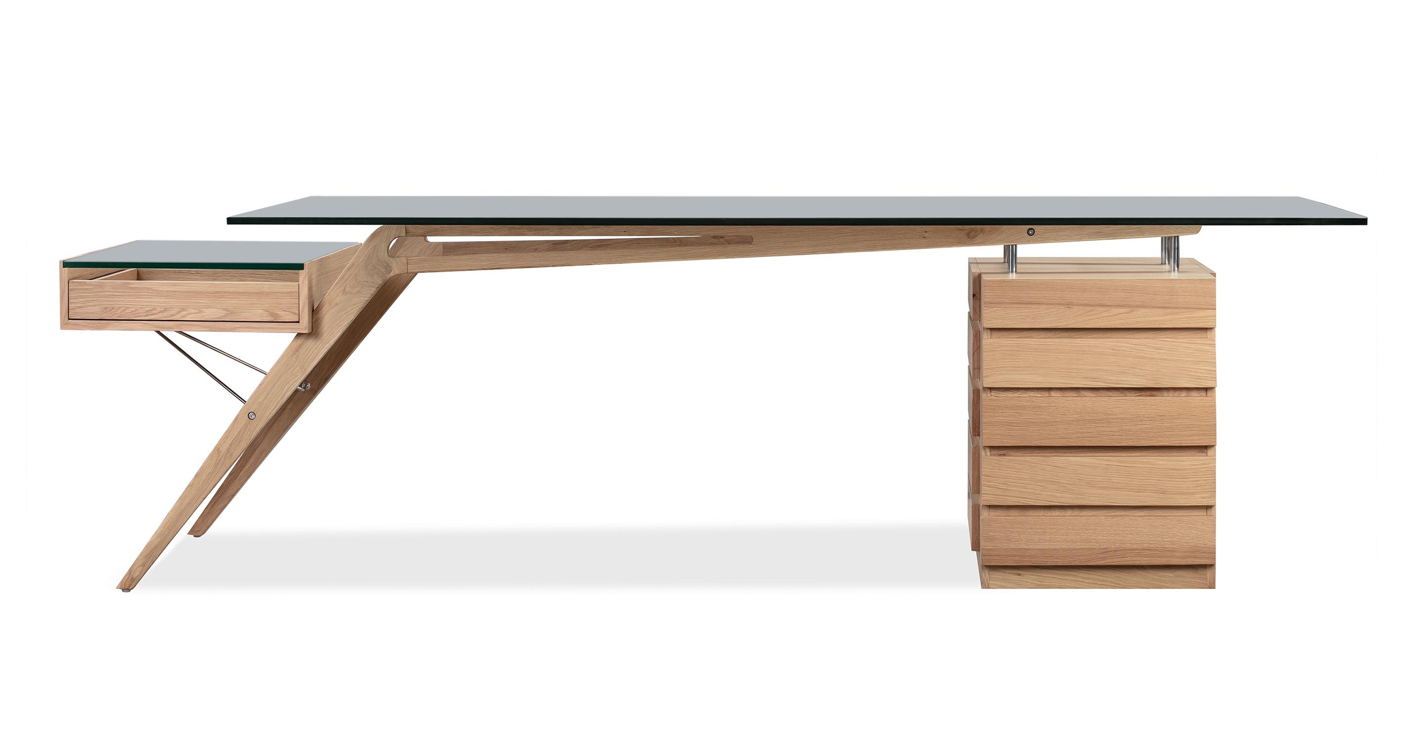 """1949 Protractor 98"""" Desk, Natural Oak"""