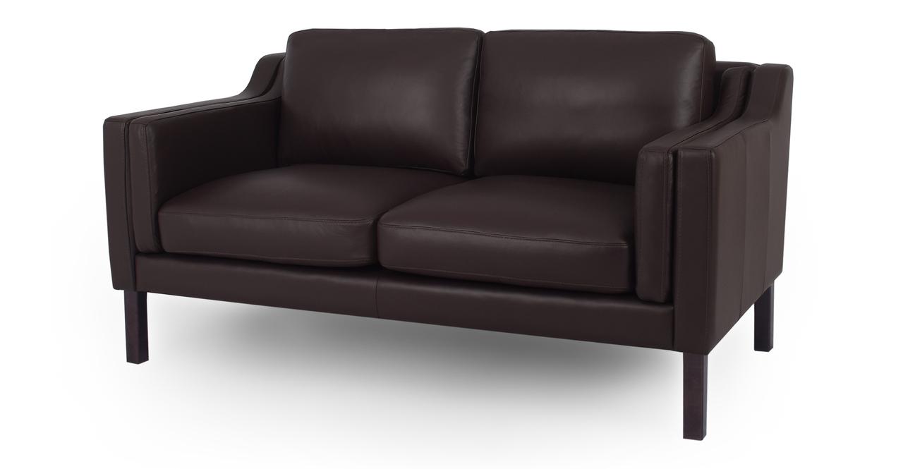 "Monroe 63"" Leather Sofa, Brown Top Grain Aniline"