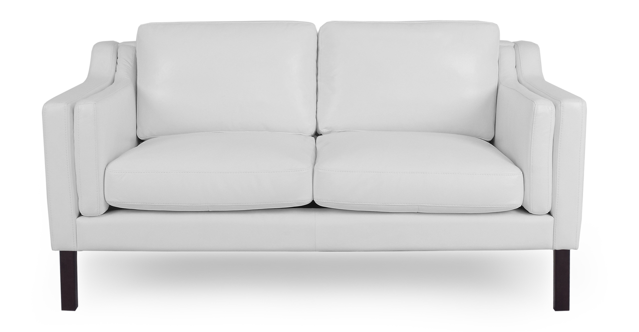 """Monroe 63"""" Leather Sofa, White"""