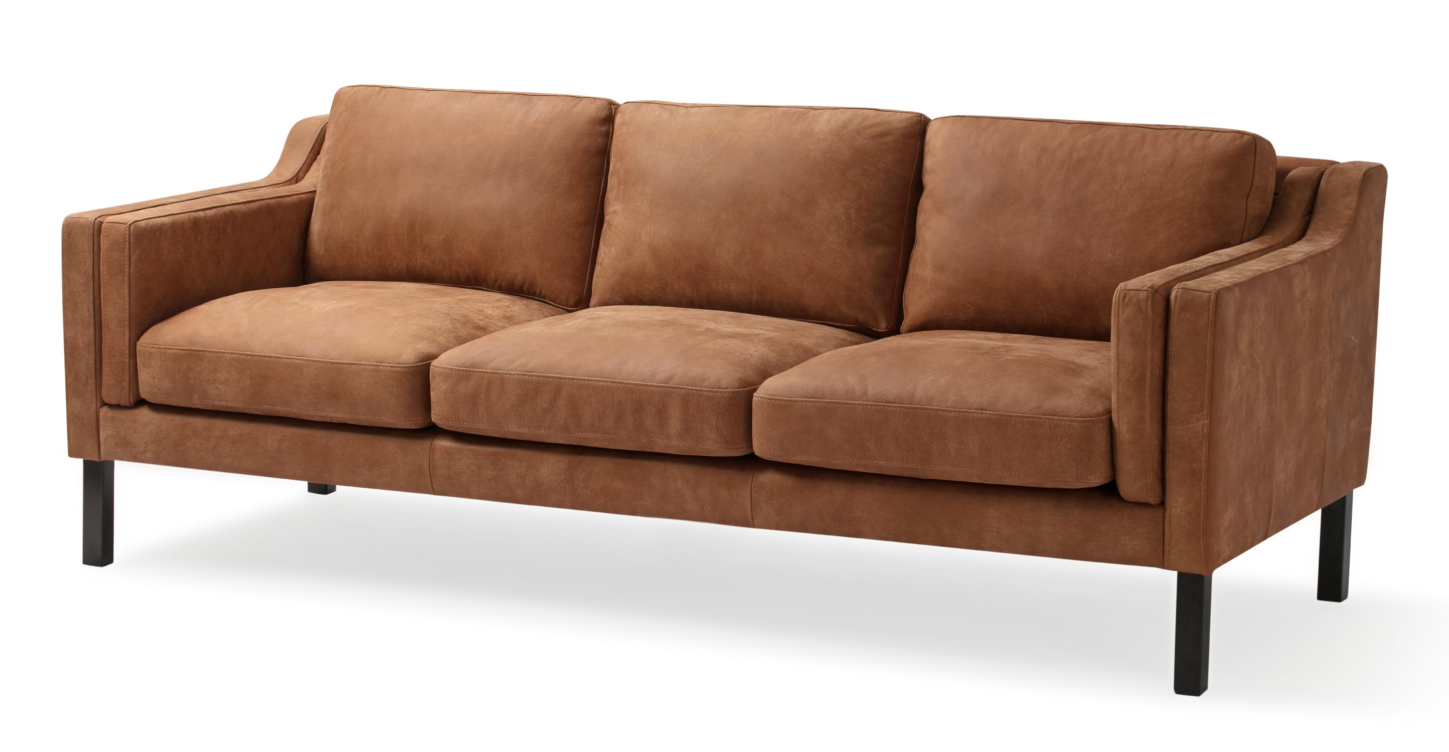 "Monroe 87"" Leather Sofa, Cognac"