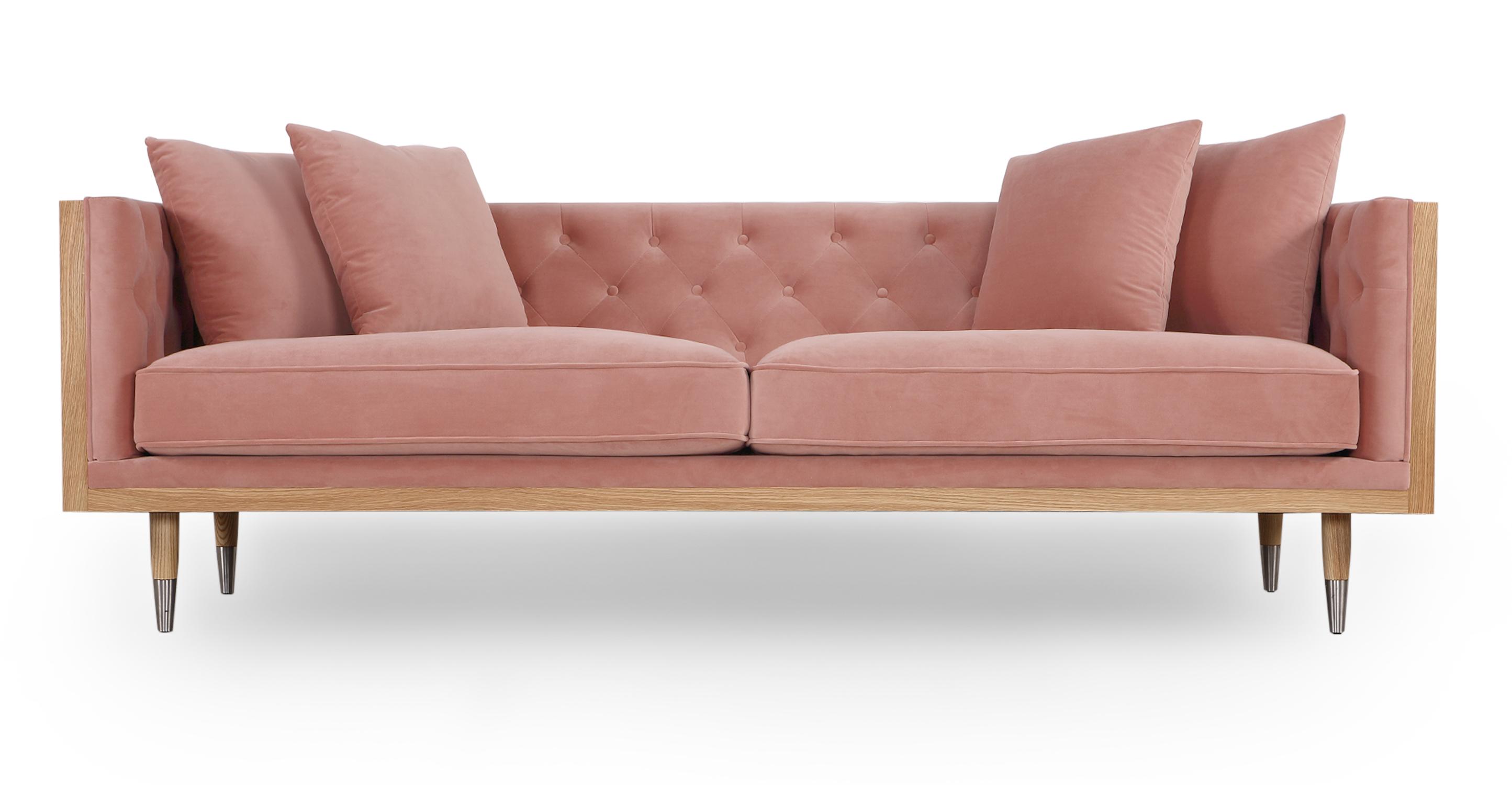 "Woodrow Neo 87"" Fabric Sofa, Ash/Blush Velvet"