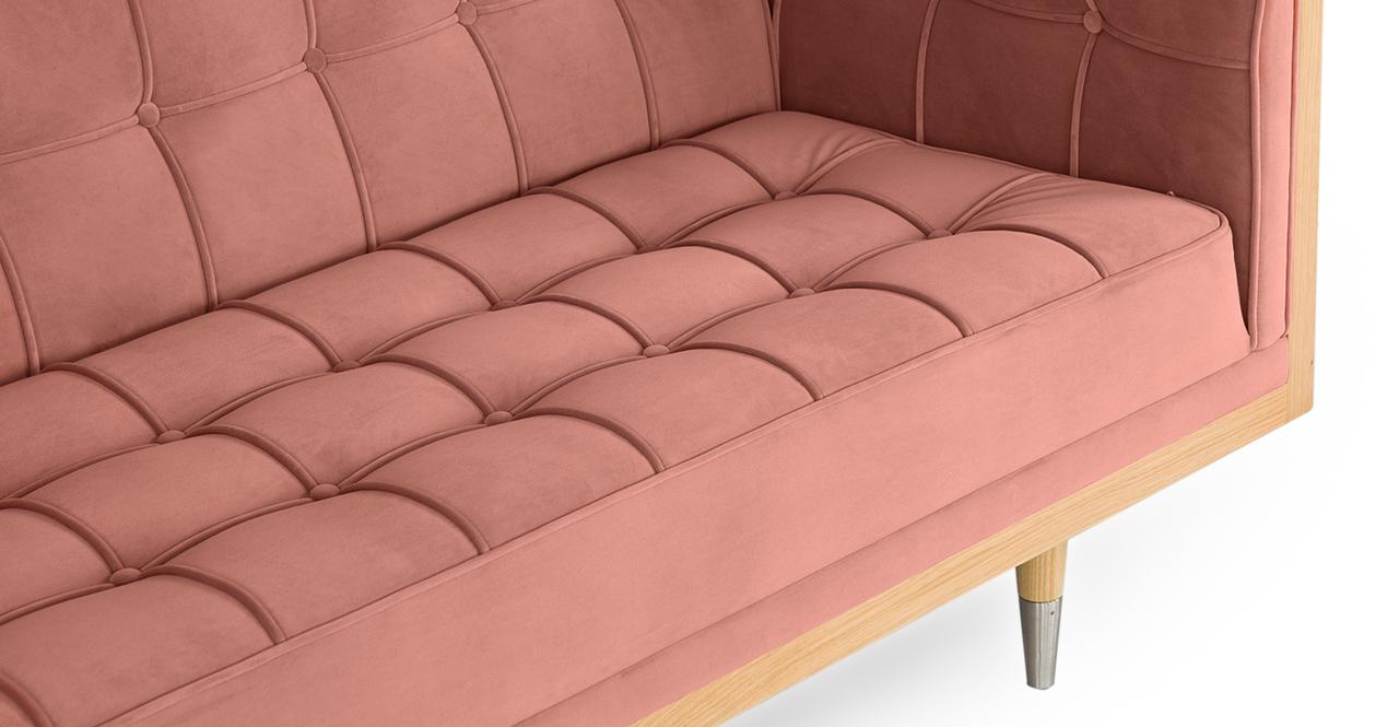 "Woodrow Box 87"" Fabric Sofa, Ash/Blush Velvet"