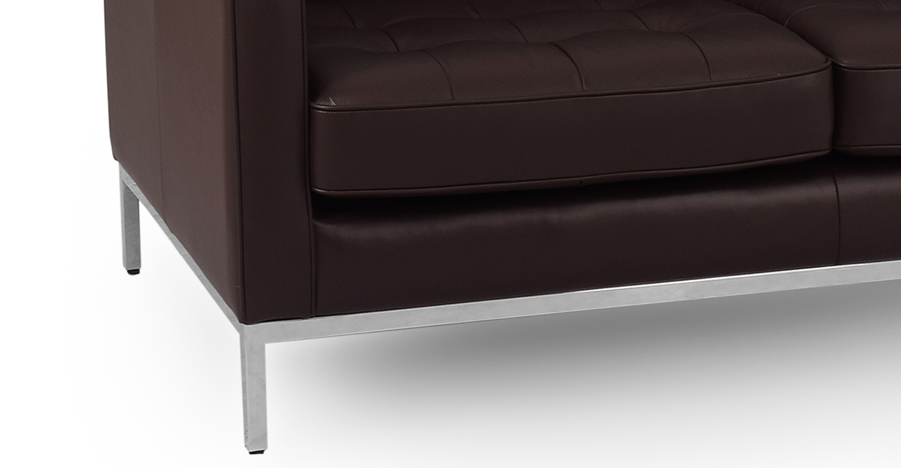 "Florence 89"" Leather Sofa, Brown Top Grain Semi Aniline"