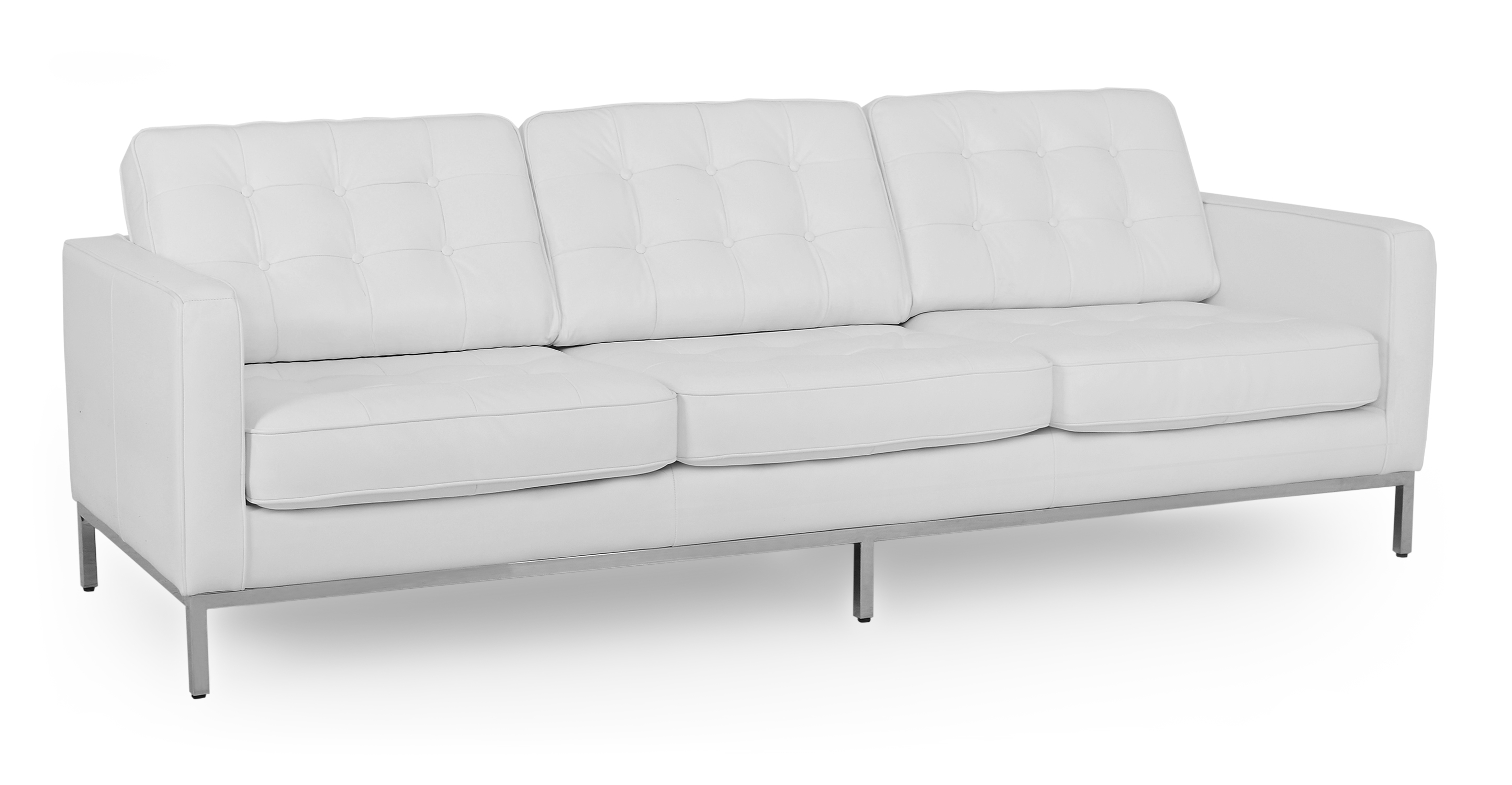 "Florence 89"" Leather Sofa, White"