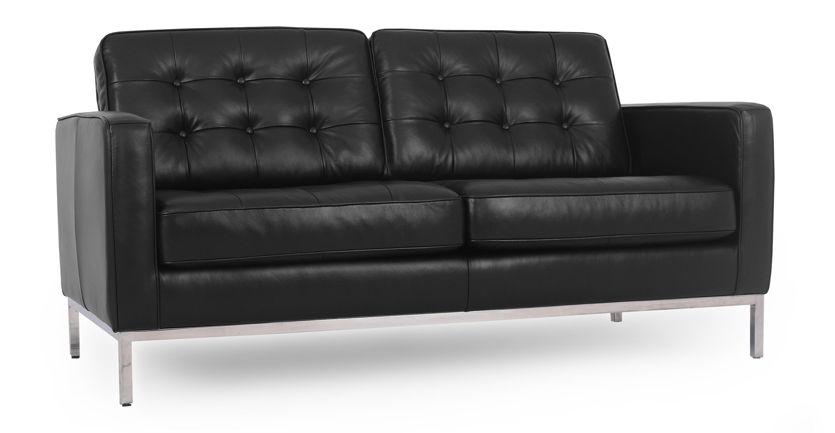 "Florence 62"" Leather Sofa, Black"