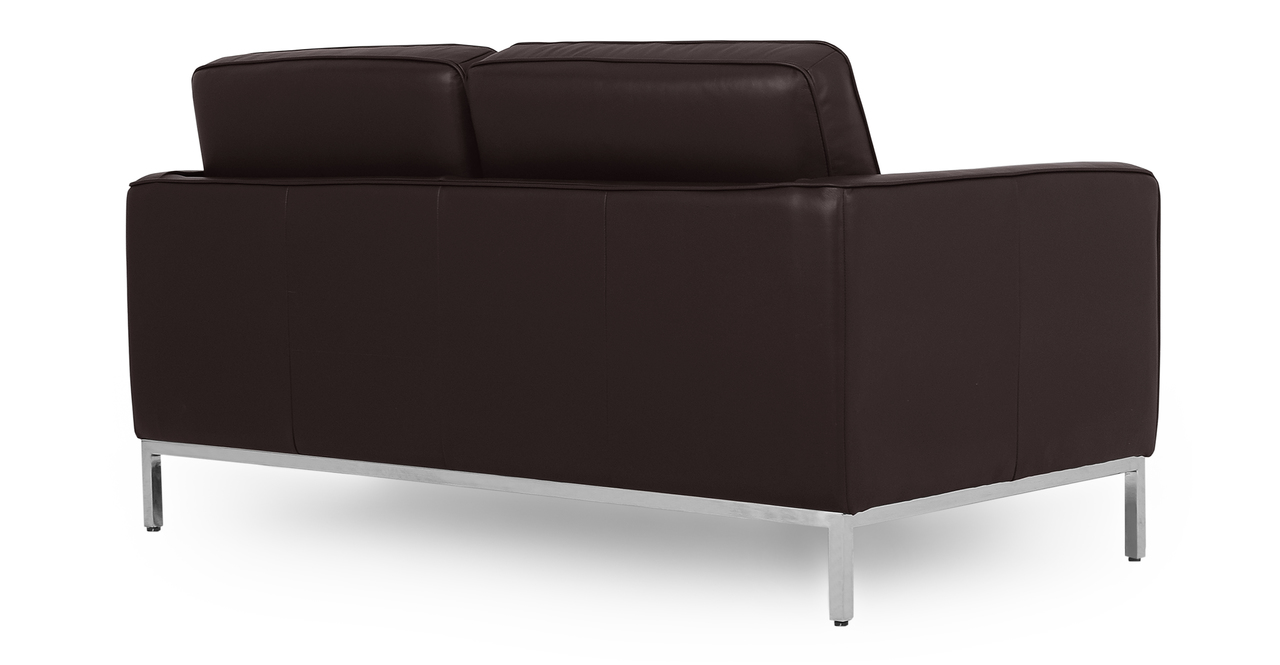 "Florence 62"" Leather Sofa, Brown Top Grain Semi Aniline"
