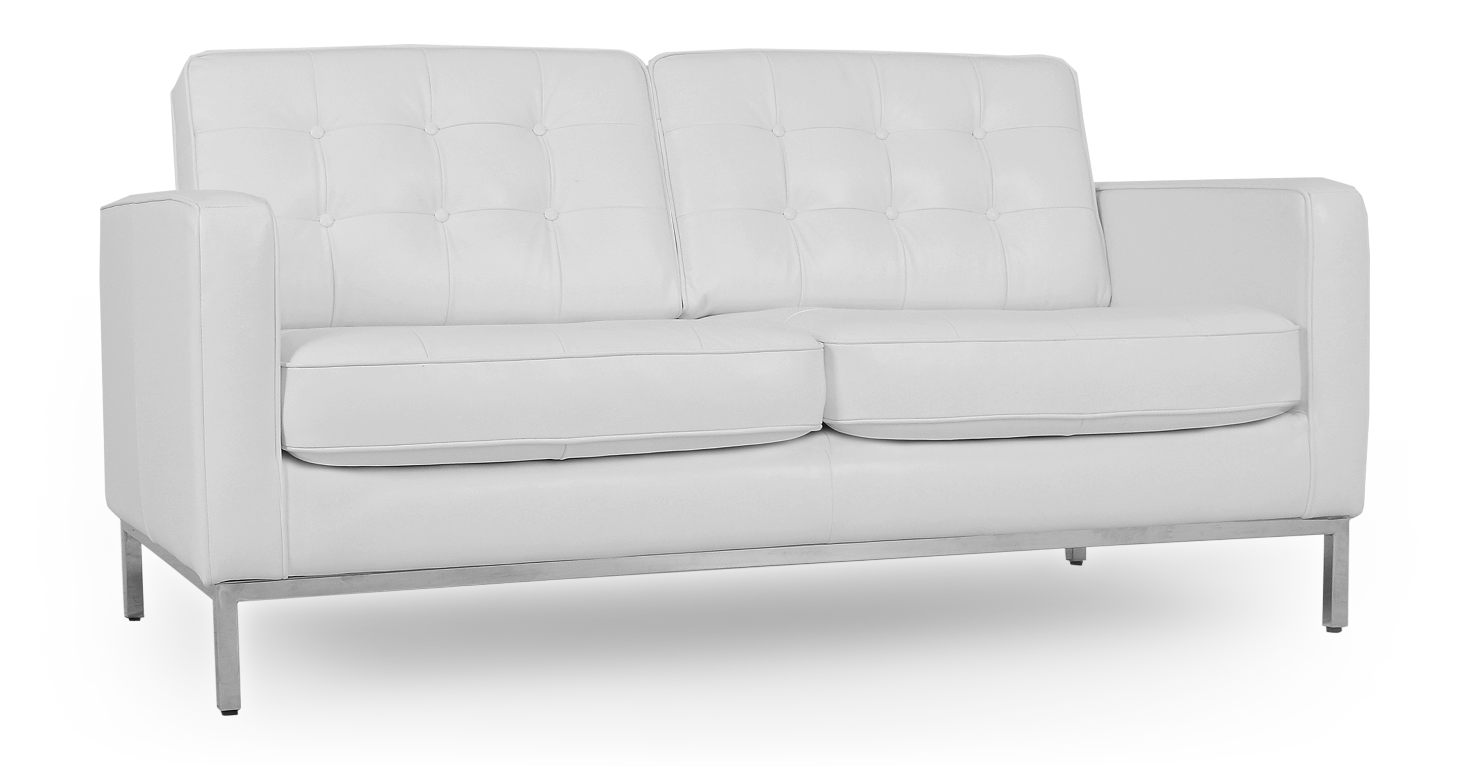 "Florence 62"" Leather Sofa, White"