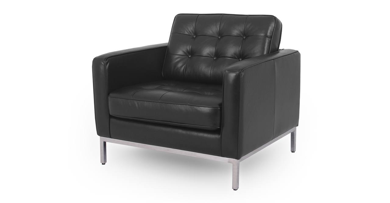 "Florence 35"" Leather Chair, Black Top Grain Semi Aniline"