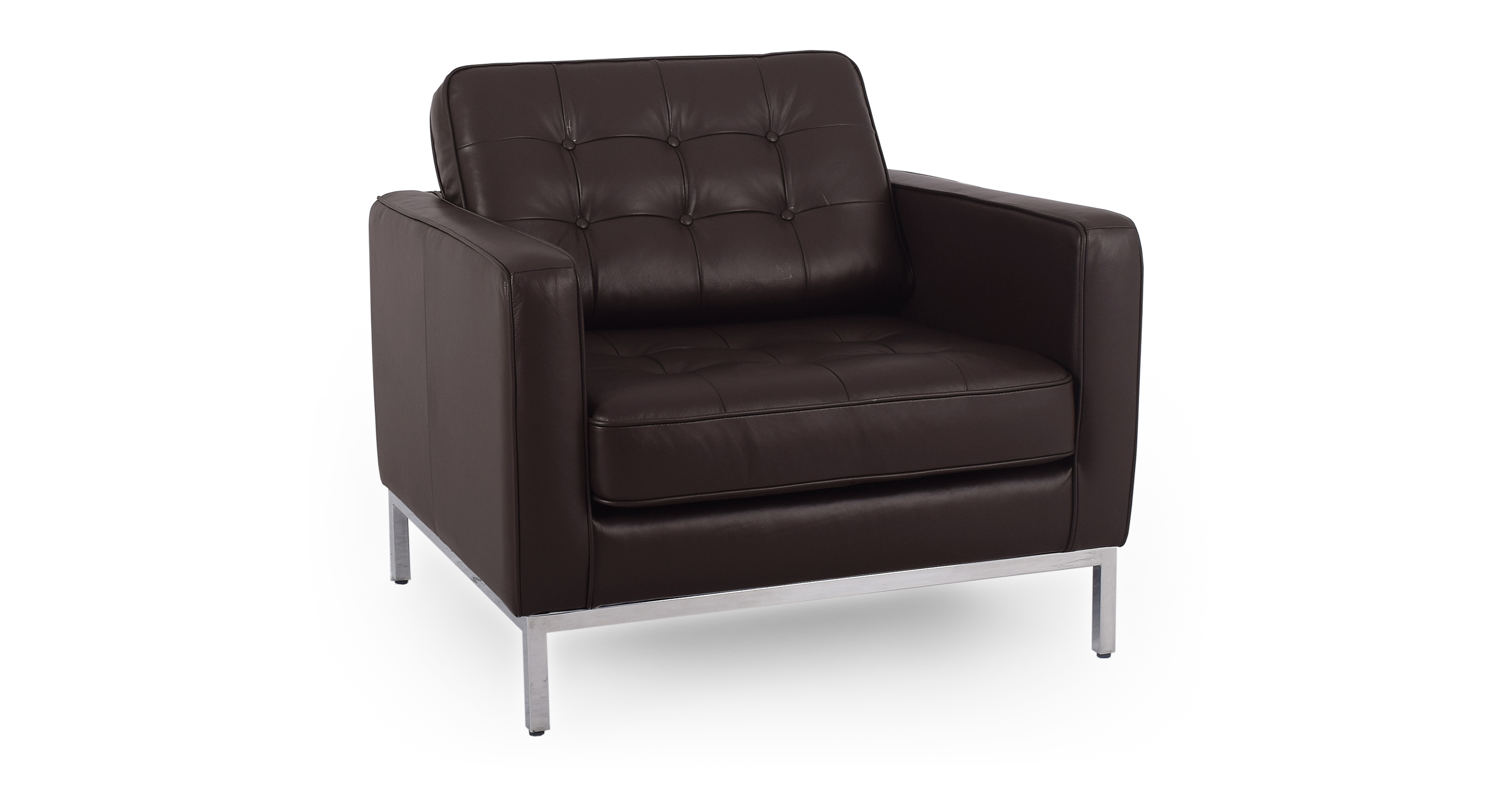 """Florence 35"""" Leather Chair, Brown"""