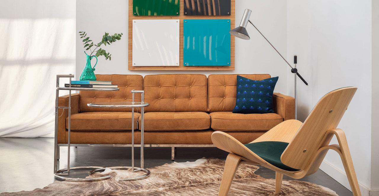 "Florence 89"" Leather Sofa, Cognac Full Grain Aniline"