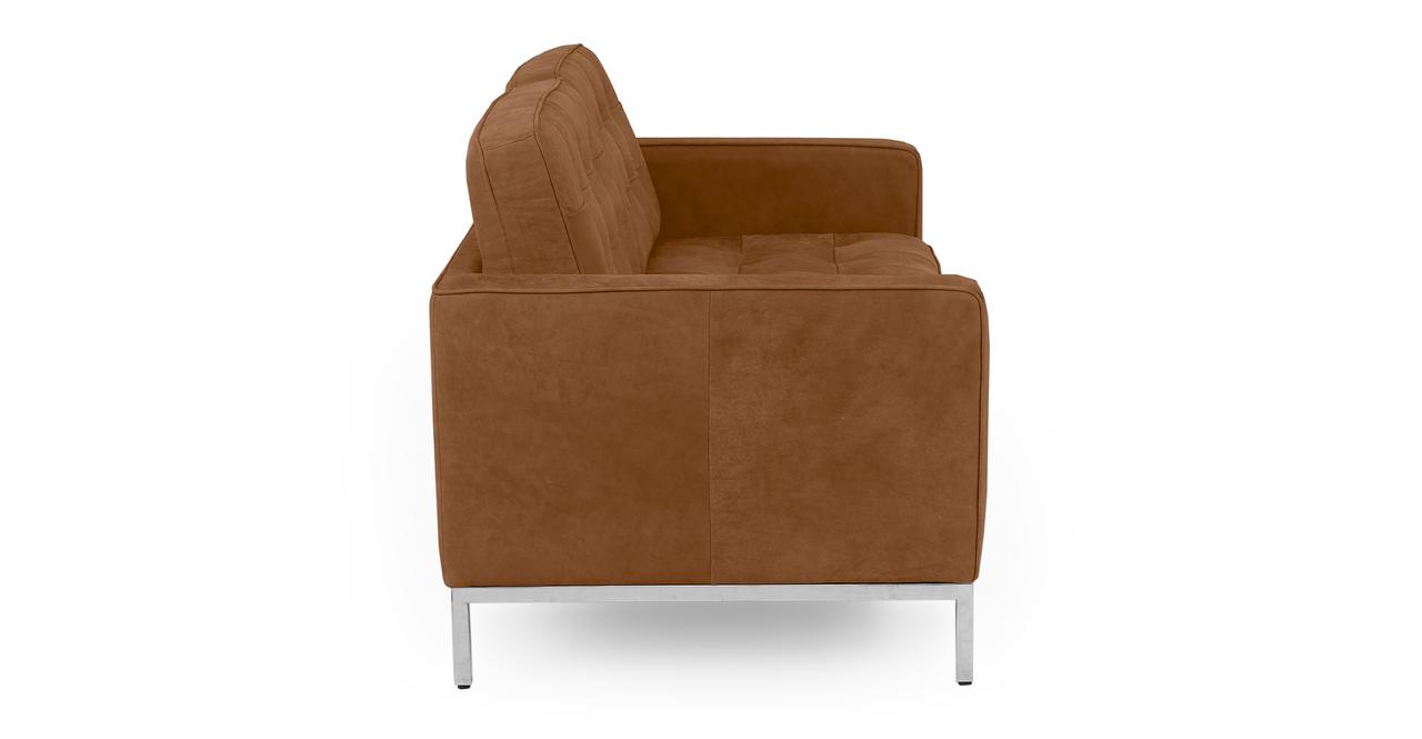 "Florence 62"" Leather Sofa, Pecan Full Grain Aniline"