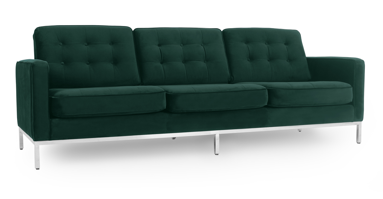 "Florence 89"" Fabric Sofa, Forest Velvet"