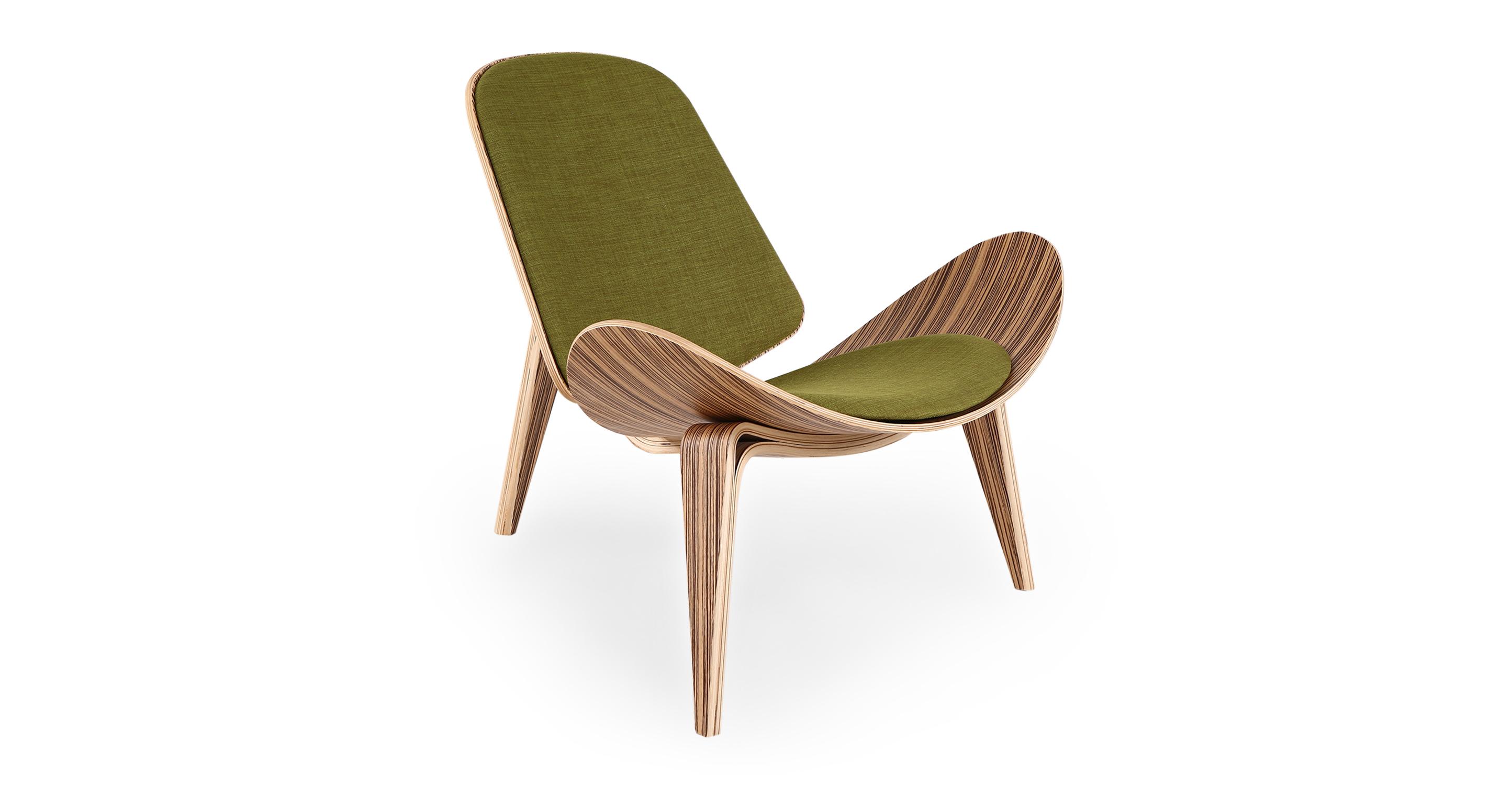 """Tripod 36"""" Fabric Chair, Zebrawood/Atomic Moss"""