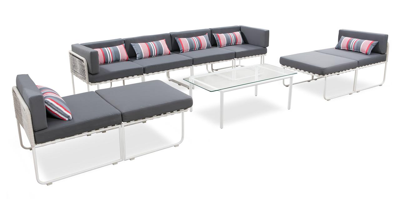 Curbed Outdoor Coachella 9-pc set, Grey/White