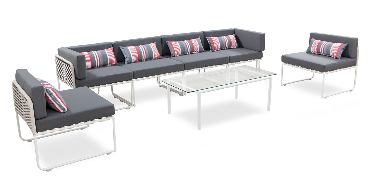 Curbed Outdoor Latitude 7-pc set, Grey/White