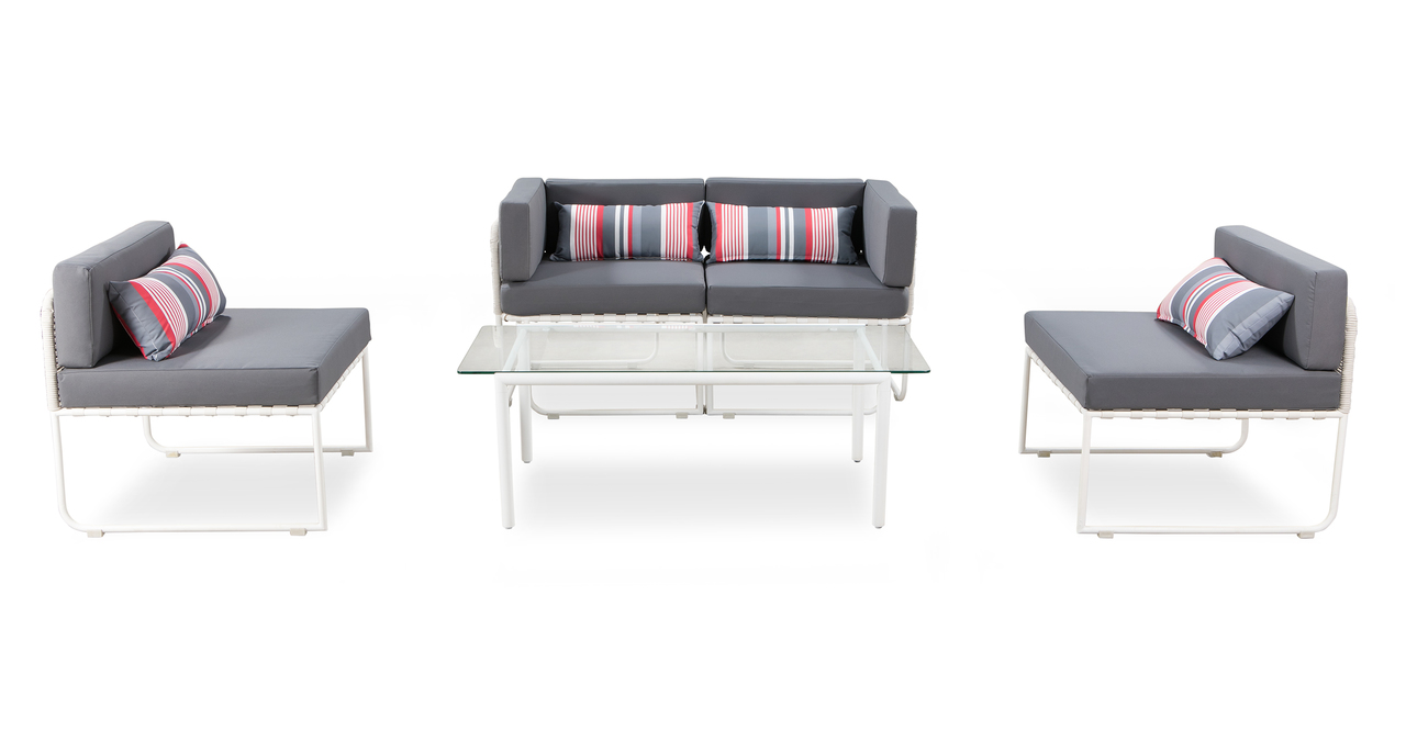 Curbed Outdoor Essence 5-pc set, Grey/White