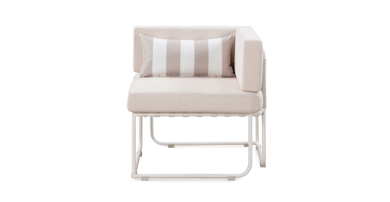 Curbed Outdoor Helly 9-pc set, Cream/White