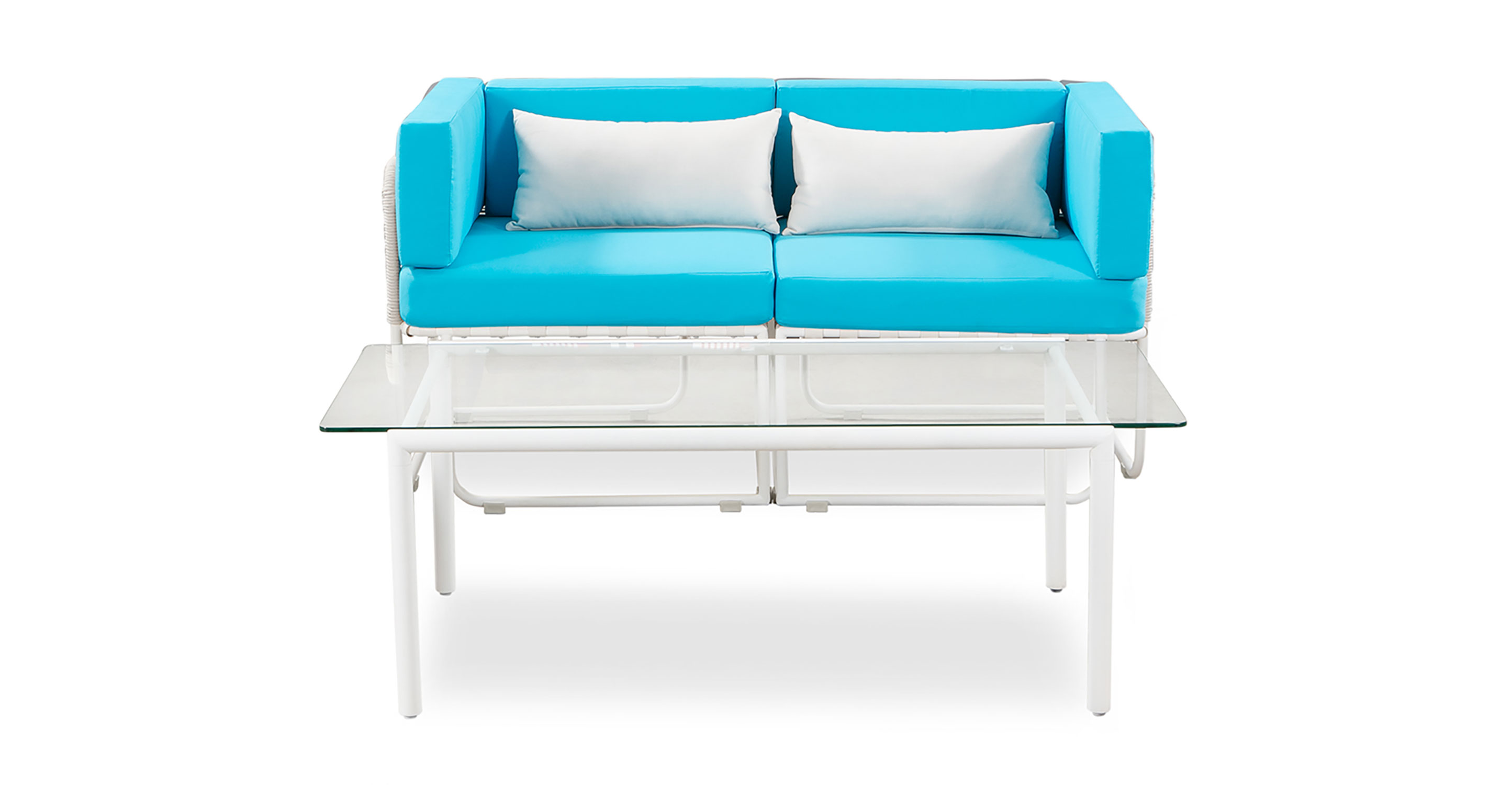 Curbed Outdoor Vive 3-pc set, White/Turquoise