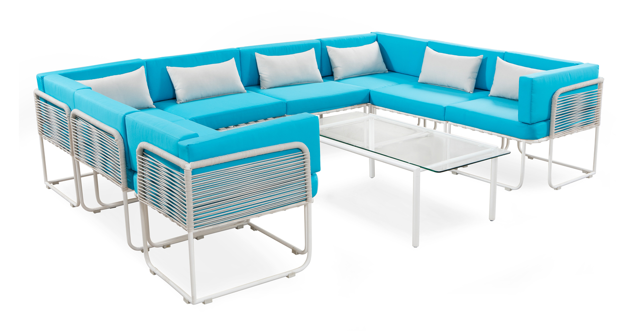 Curbed Outdoor Helly 9-pc set, Turquoise/White