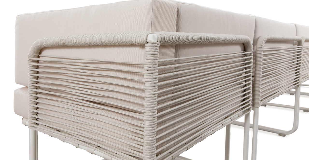 Curbed Outdoor Envision 7-pc set, Cream/White