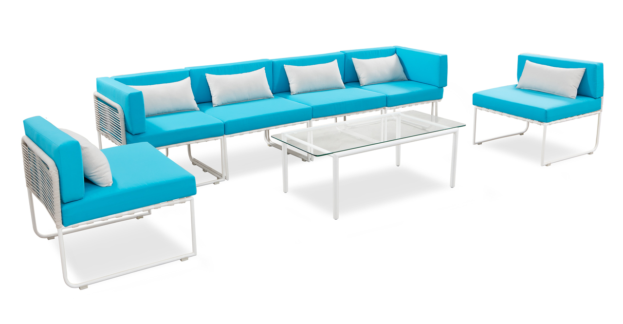 Curbed Outdoor Latitude 7-pc set, Turquoise/White