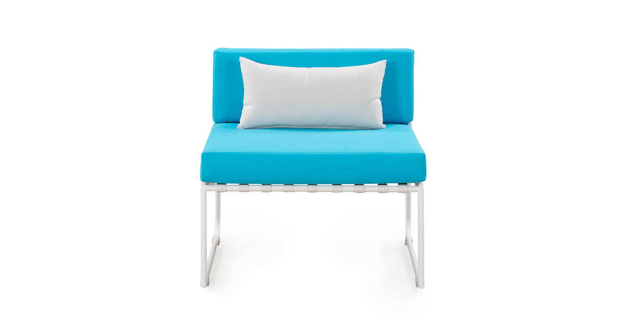Curbed Outdoor Coachella 9-pc set, Turquoise/White