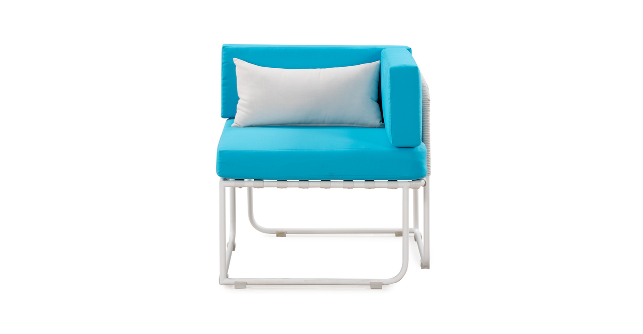 Curbed Outdoor Solstice 13-pc set, Turquoise/White