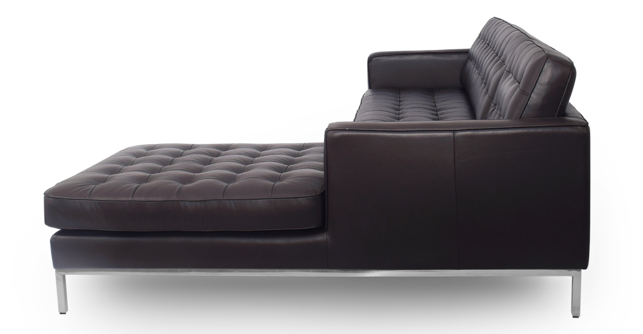 "Florence 101"" Leather Right Sectional, Brown Top Grain"