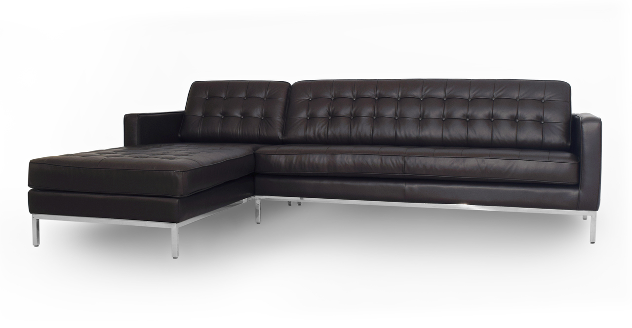 """Florence 101"""" Leather Left Sectional, Brown"""