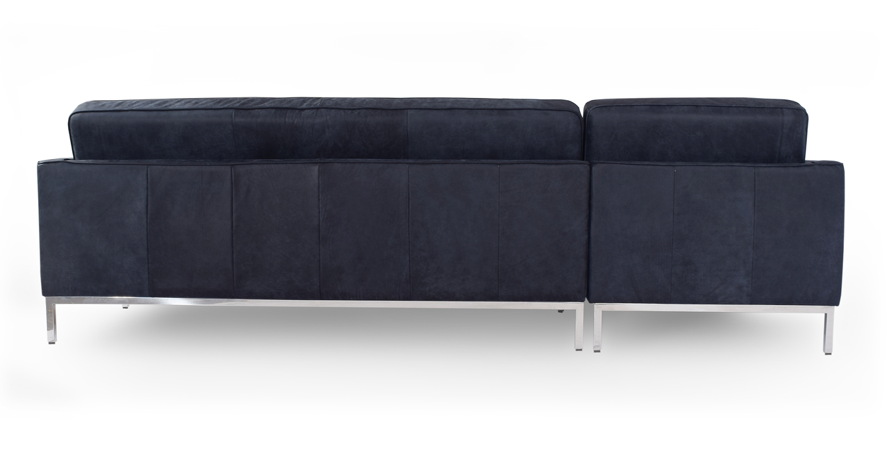 """Florence 101"""" Leather Left Sectional, Night Full Grain Aniline"""