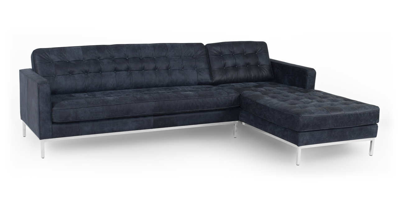 """Florence 101"""" Leather Right Sectional, Night"""