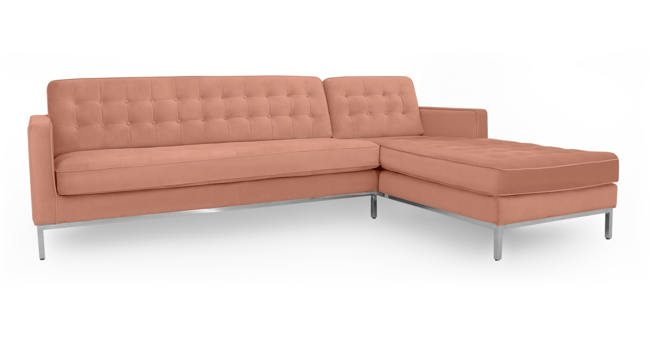"""Florence 101"""" Fabric Right Sectional, Cosmo Velvet"""