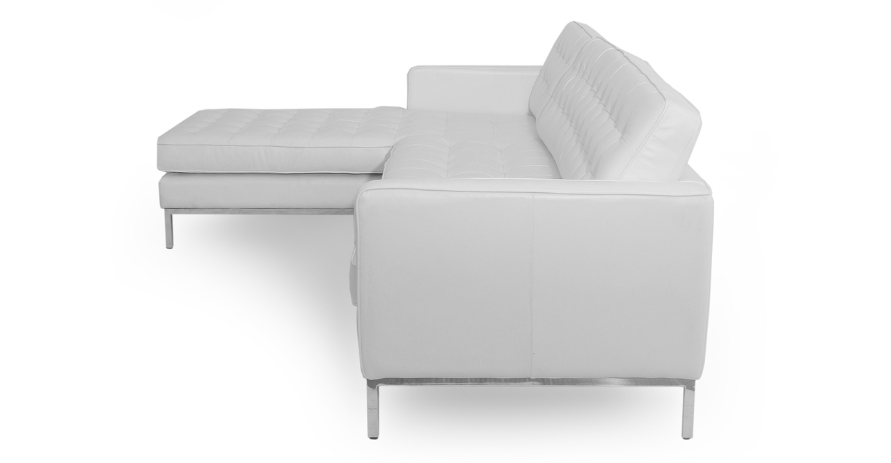 "Florence 101"" Leather Left Sectional, White Top Grain"