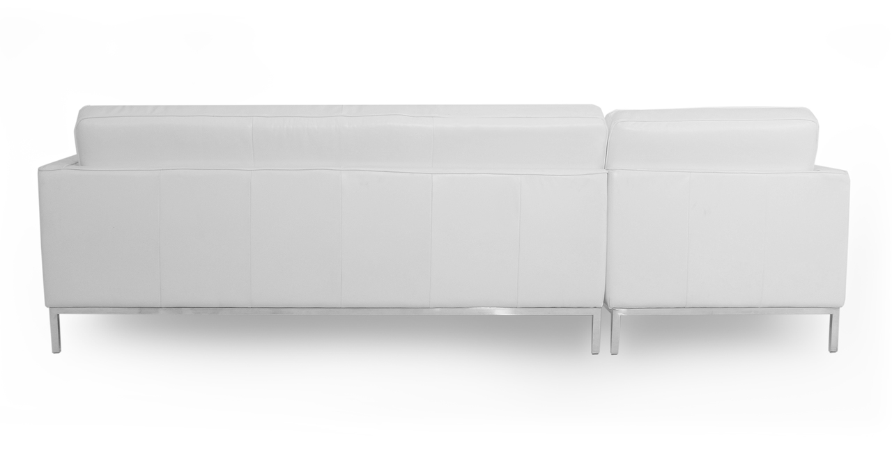"""Florence 101"""" Leather Left Sectional, White Top Grain"""