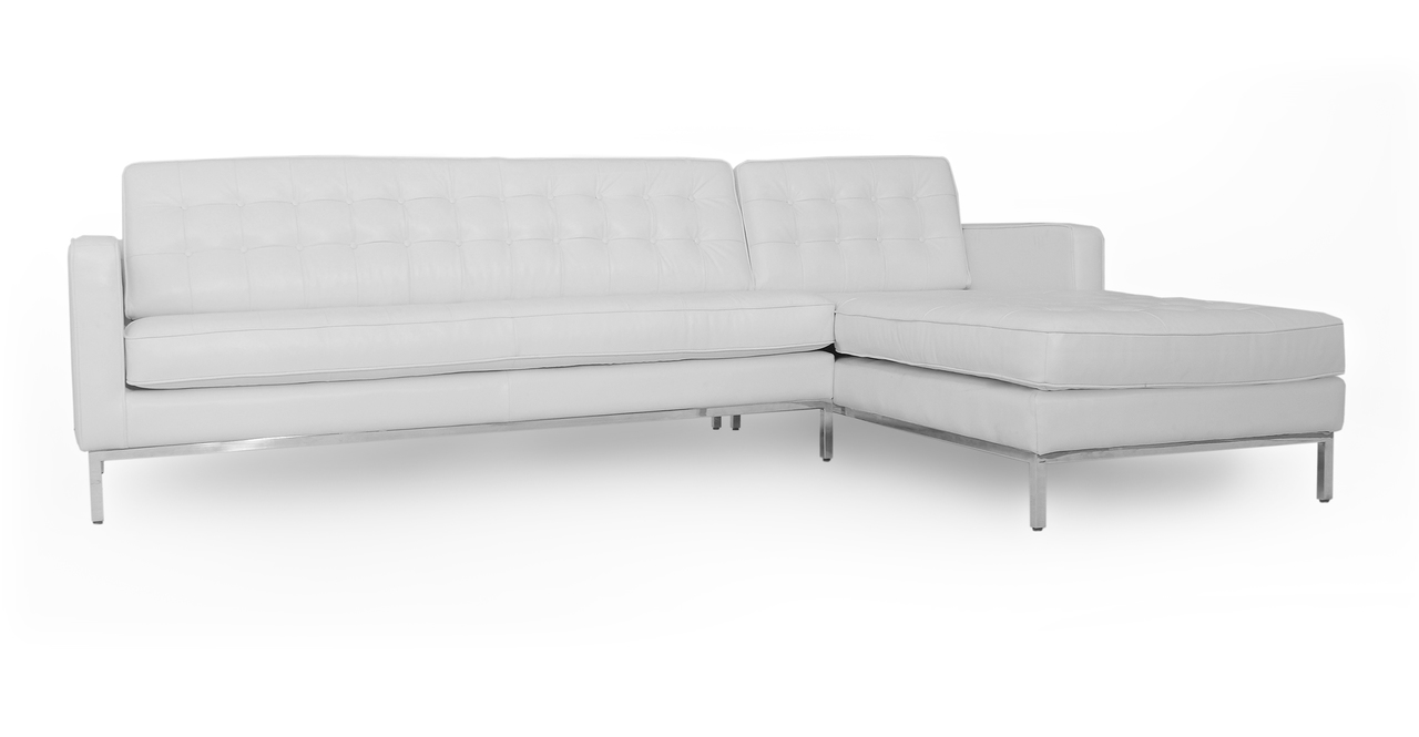 "Florence 101"" Leather Right Sectional, White Top Grain"