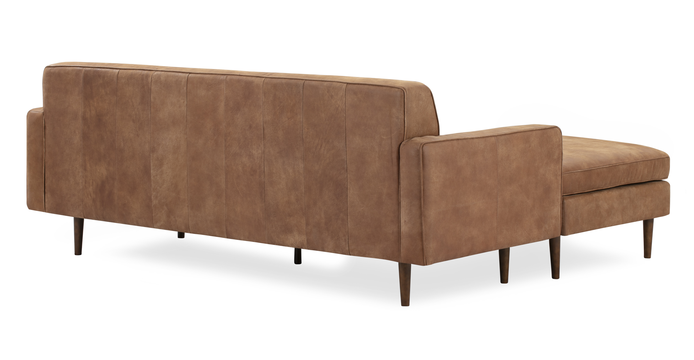 "Eleanor 85"" Leather Sofa Sectional Left, Cognac Full Aniline"