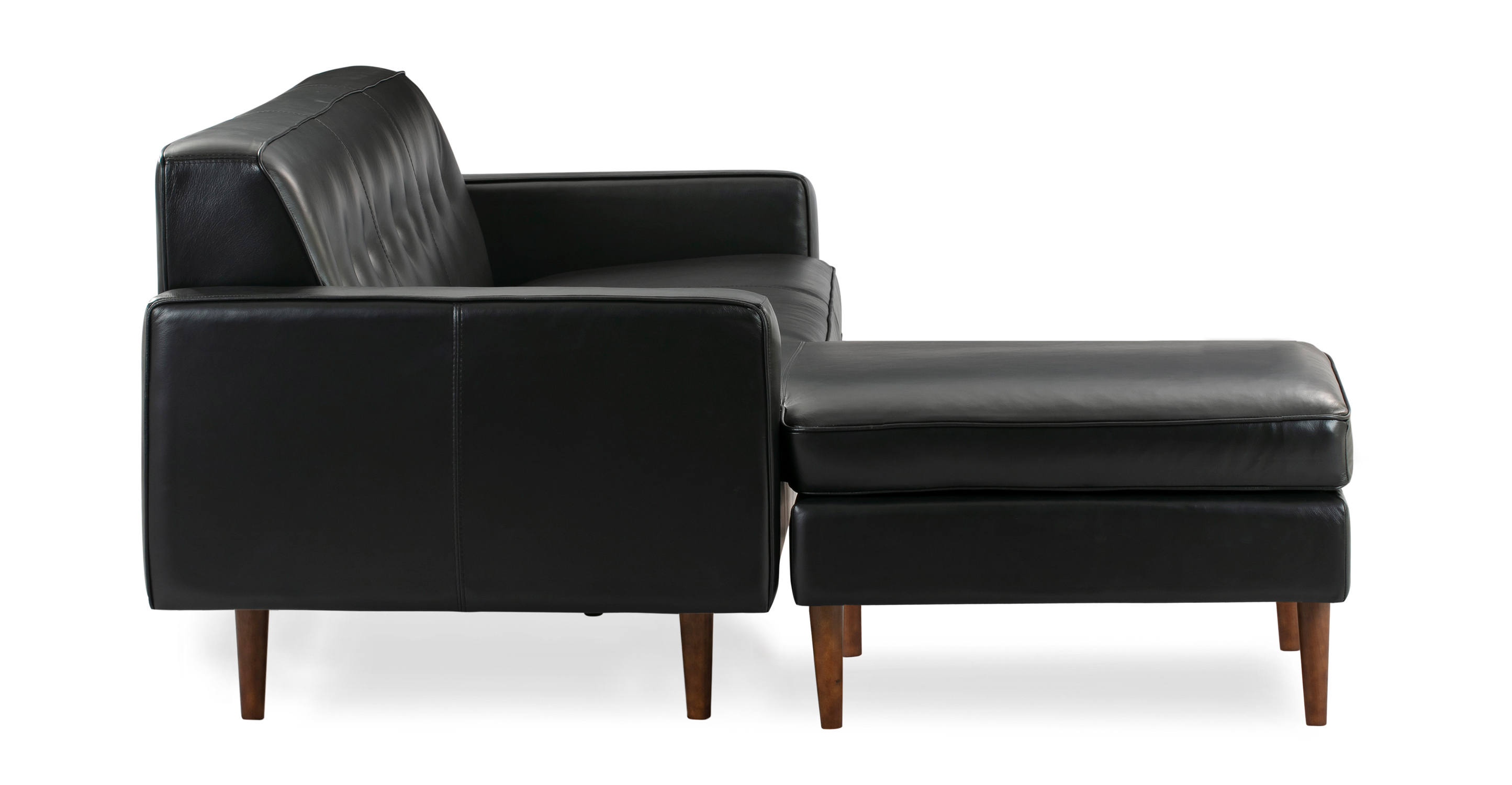 "Eleanor 85"" Leather Sofa Sectional Left, Black Top Grain Aniline"