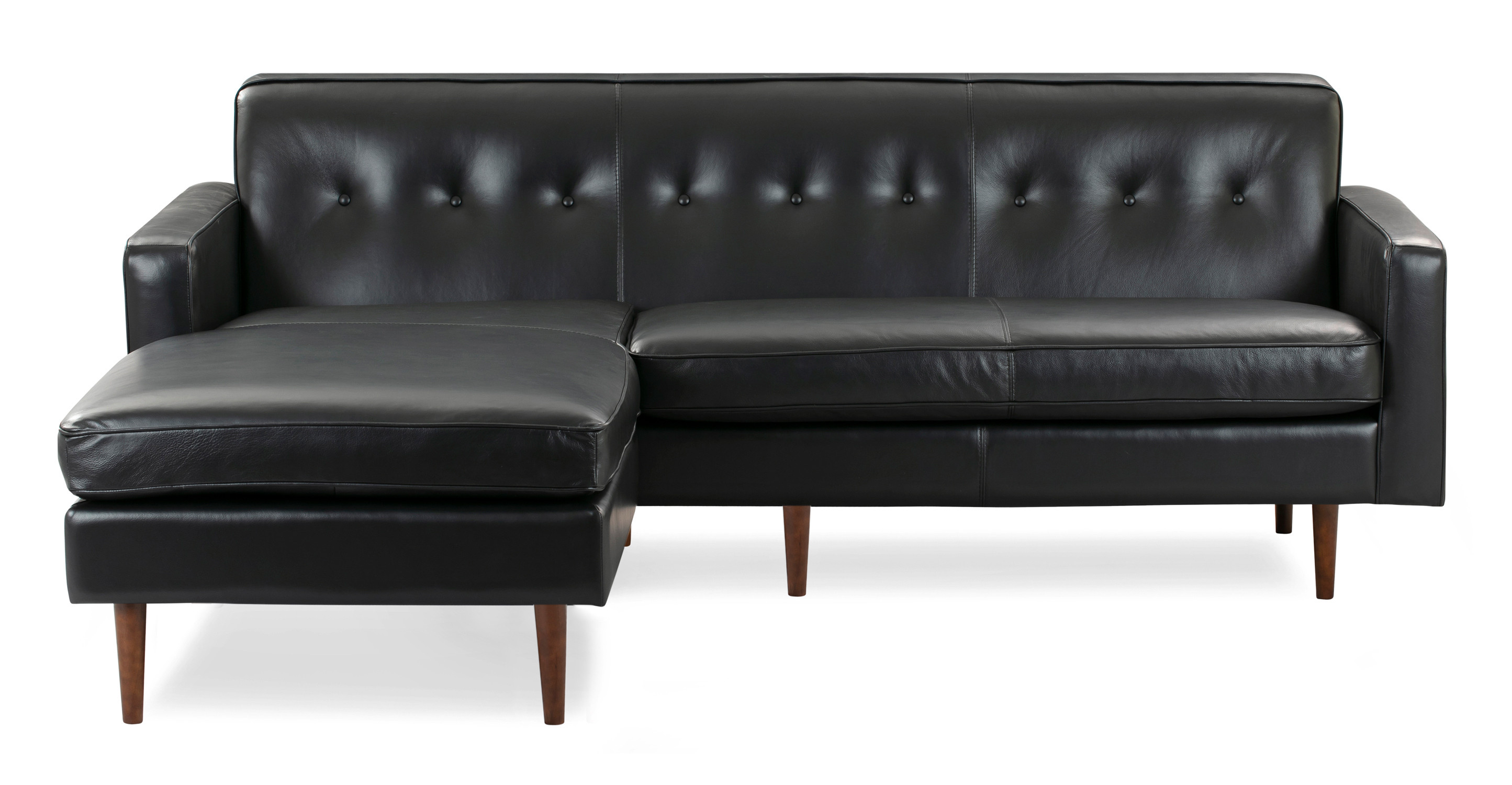 "Eleanor 85"" Leather Sofa Sectional Left, Black Top Grain Aniline"