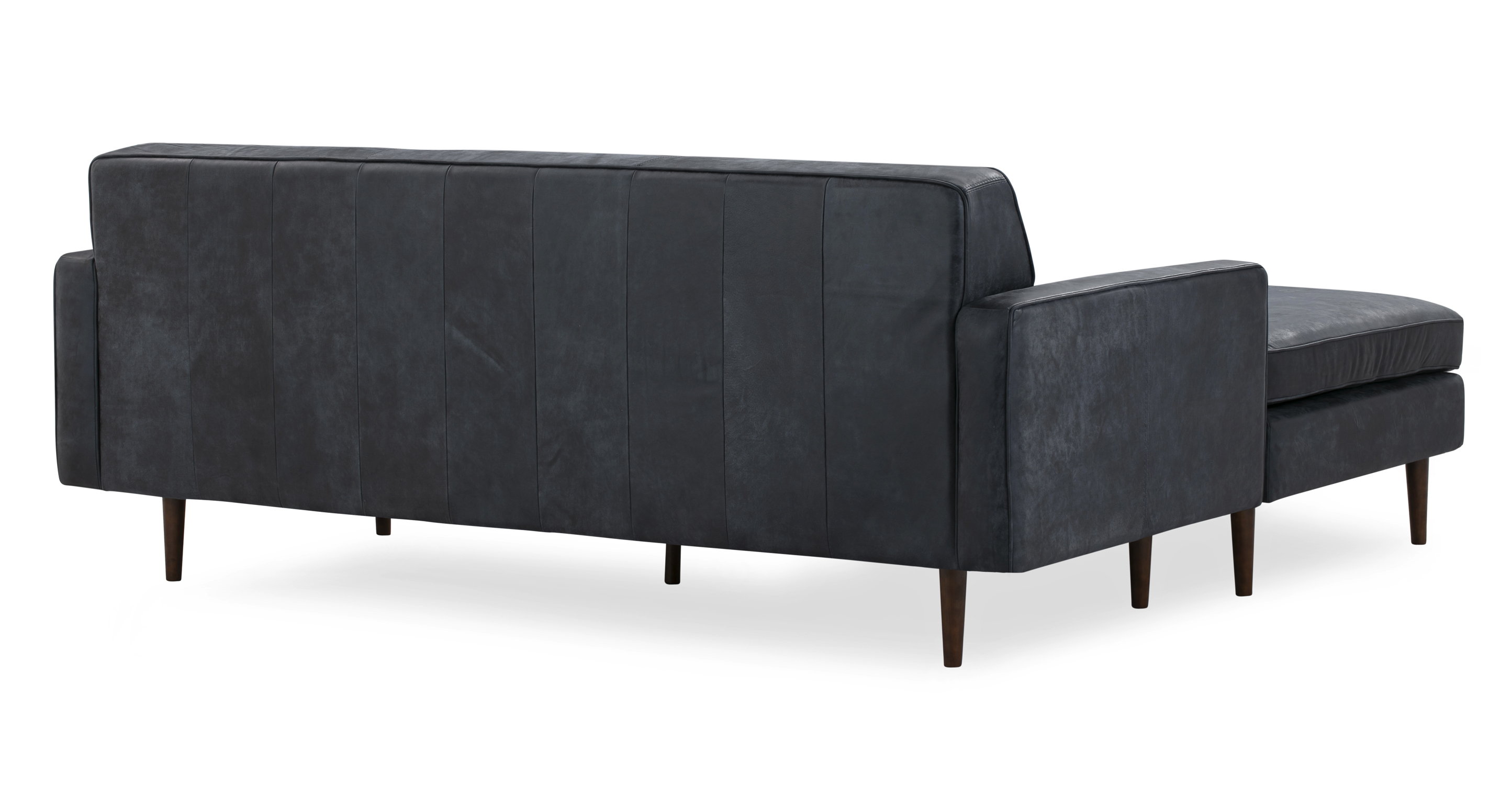 "Eleanor 85"" Leather Sofa Sectional Left, Night Full Aniline"