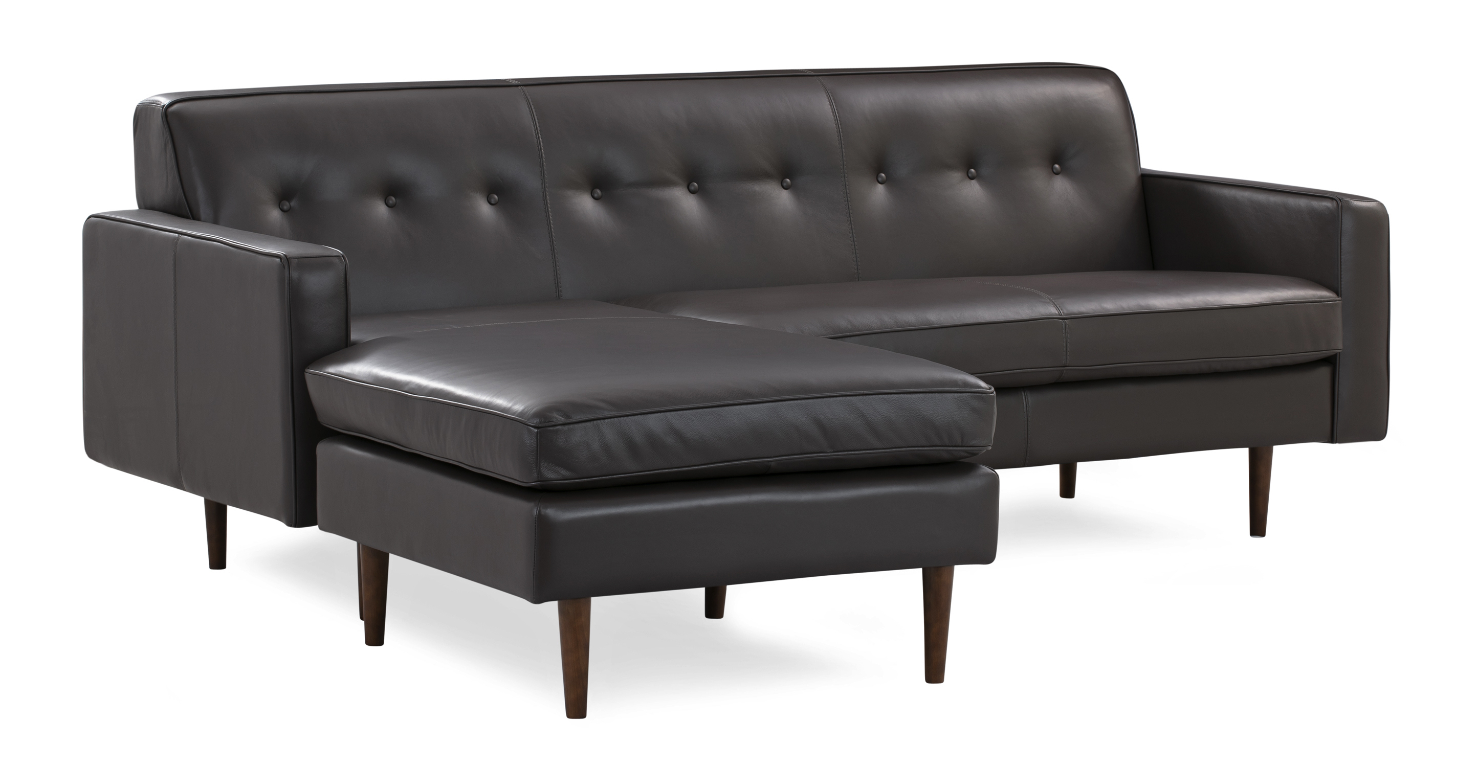 "Eleanor 85"" Leather Sofa Sectional Left, Brown Top Grain Aniline"