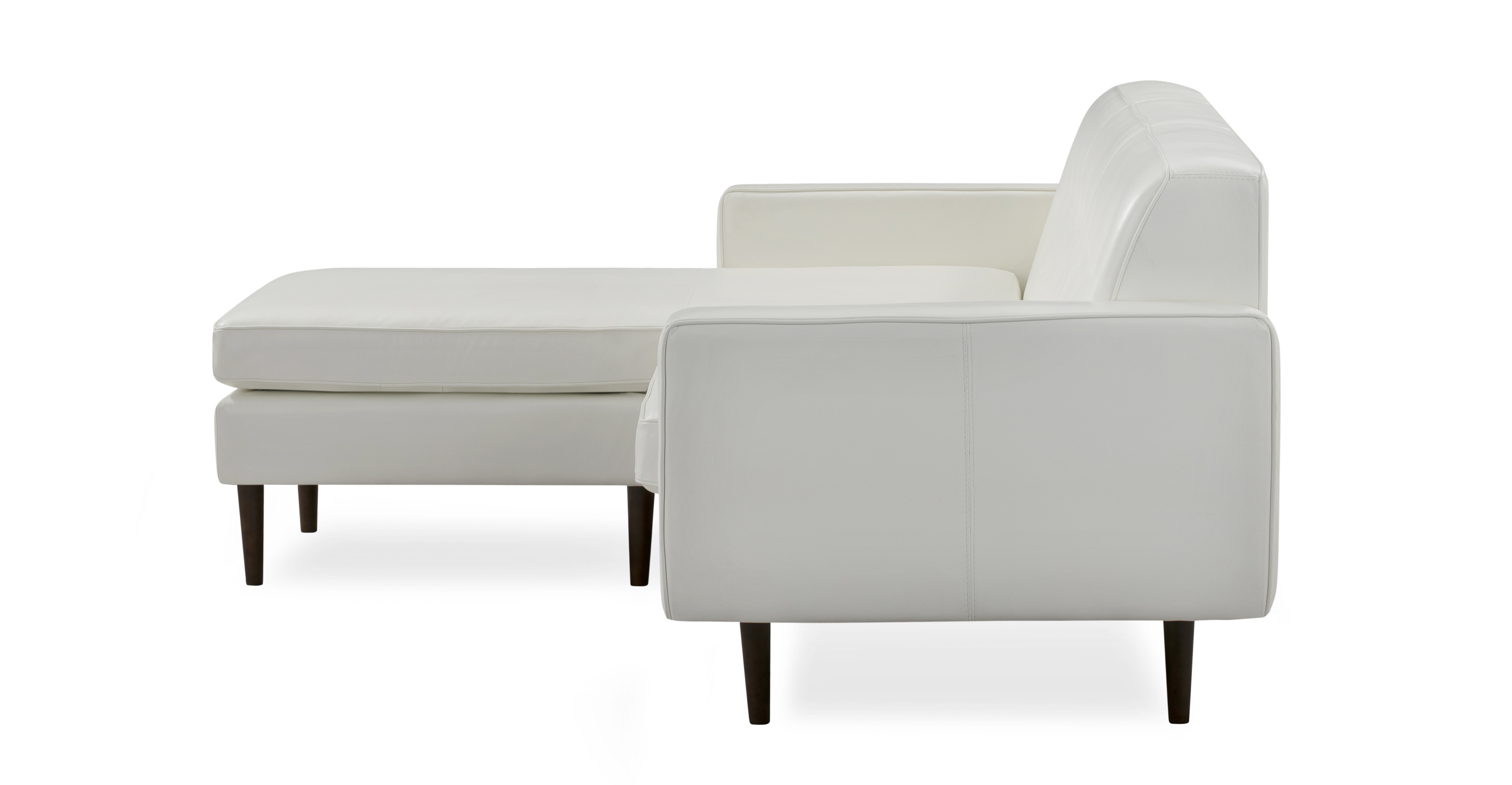 "Eleanor 85"" Leather Sofa Sectional Left, White Top Grain Aniline"