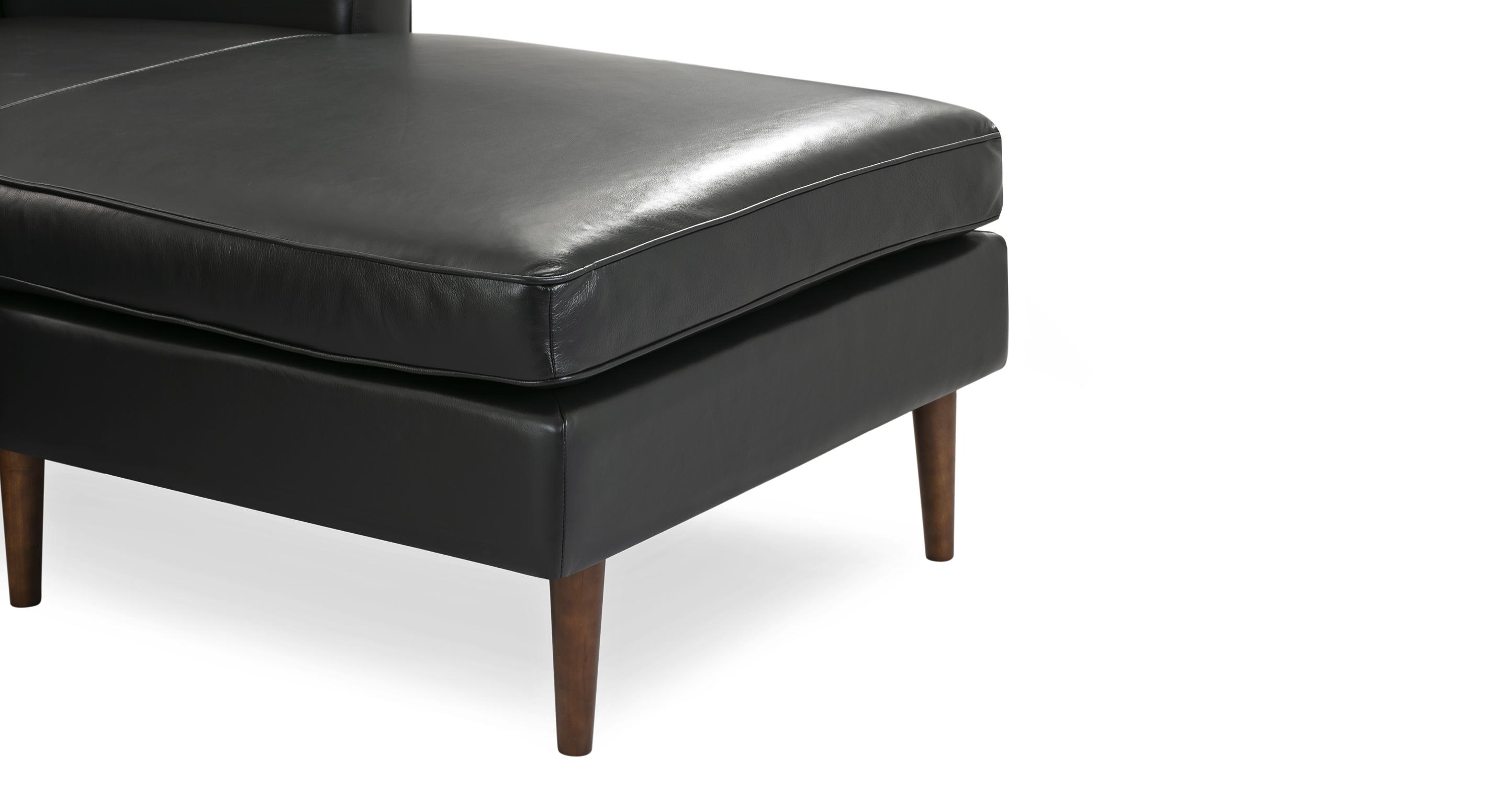 "Eleanor 85"" Leather Sofa Sectional Right, Black Top Grain Aniline"