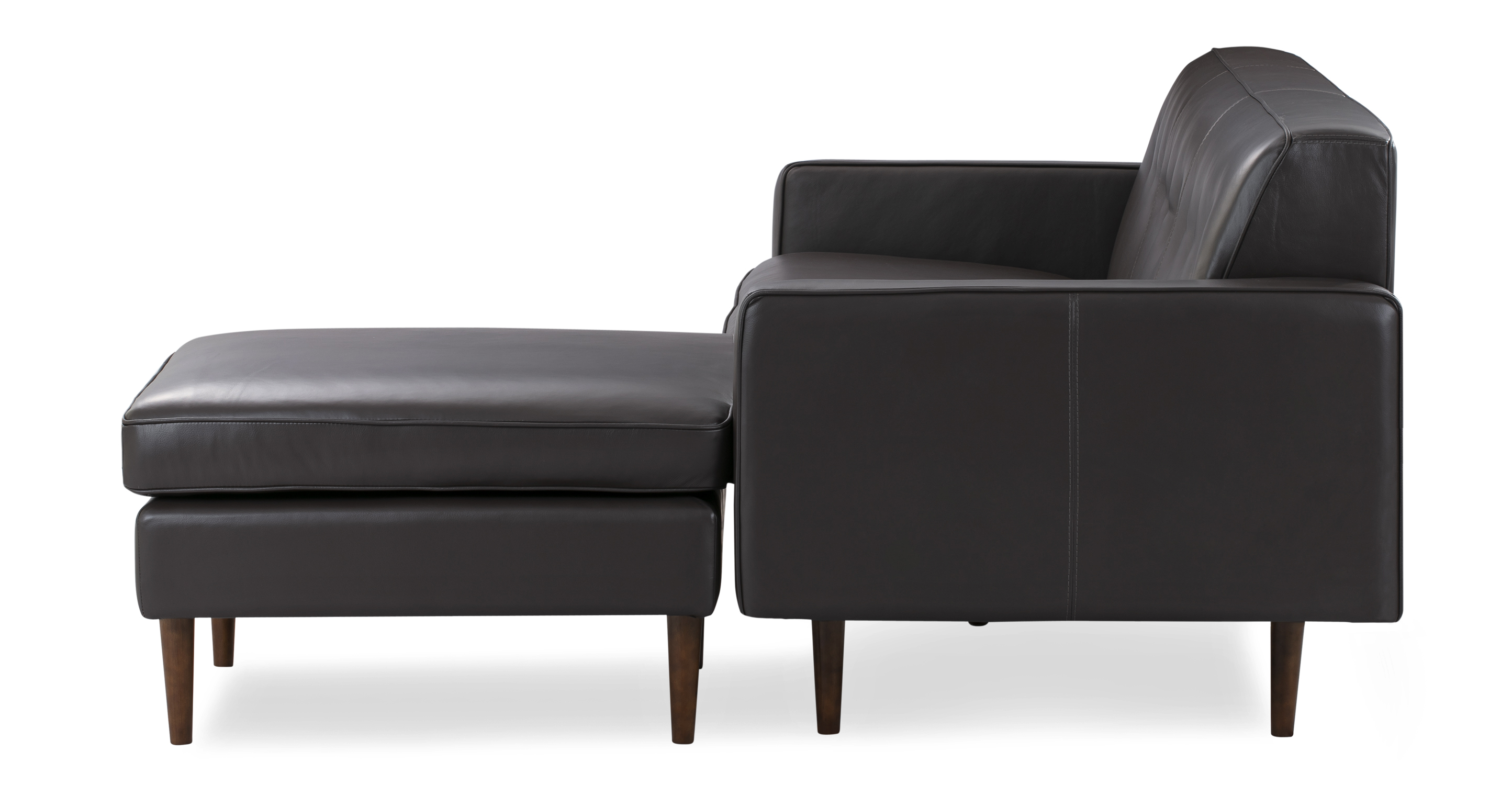 """Eleanor 85"""" Leather Sofa Sectional Right, Brown Top Grain Aniline"""
